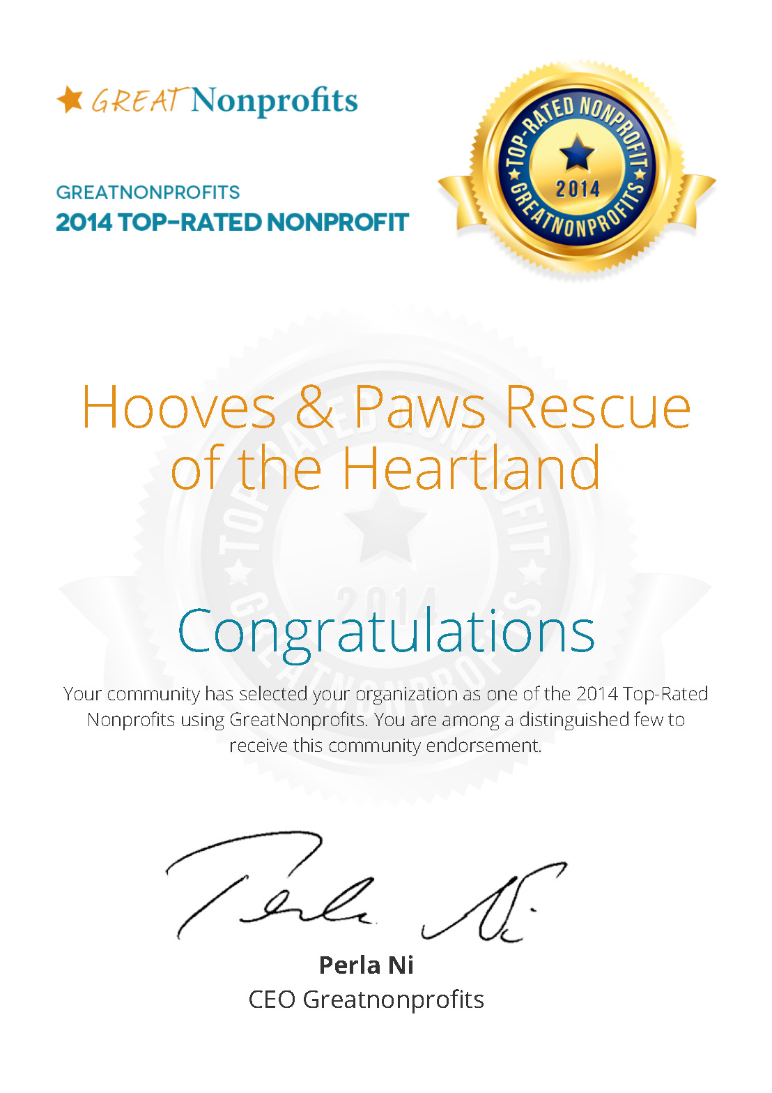 Hooves & Paws Rescue Of The Heartland Has Been Awarded